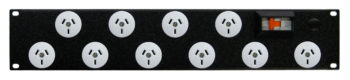 Power Strip Rack Mount 10 x 10A Outlets, 10A MCB and Plug
