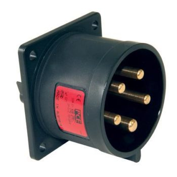 PCE Midnight Series 32A Male Panel Inlet  5 Pin Plug 625-6xs