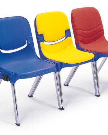Sebel Progress Side Chair Plain Polypropylene Finish c/w Seat Pad and Back Fabric