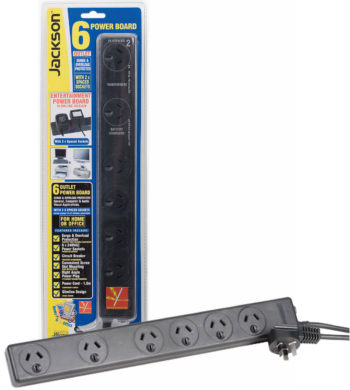 10A Black 6 Way Plug Board Surge & Overload Protected + Extra Space