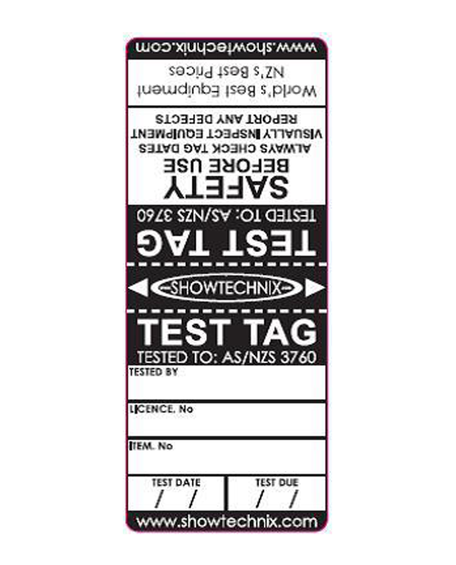Test Tags Strong Durable With Writable Surface And