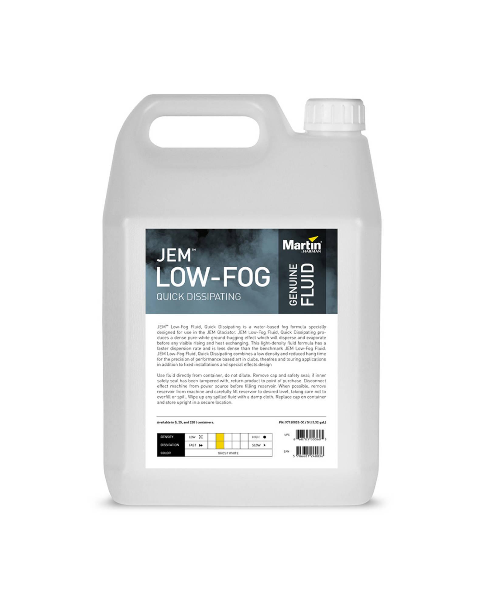 Jem Low Fog Fluid, Quick Dissipating